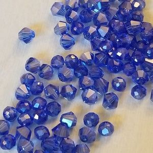 4/$60 NWT Swarovski 4mm Denim Blue AB Bicone Rndle